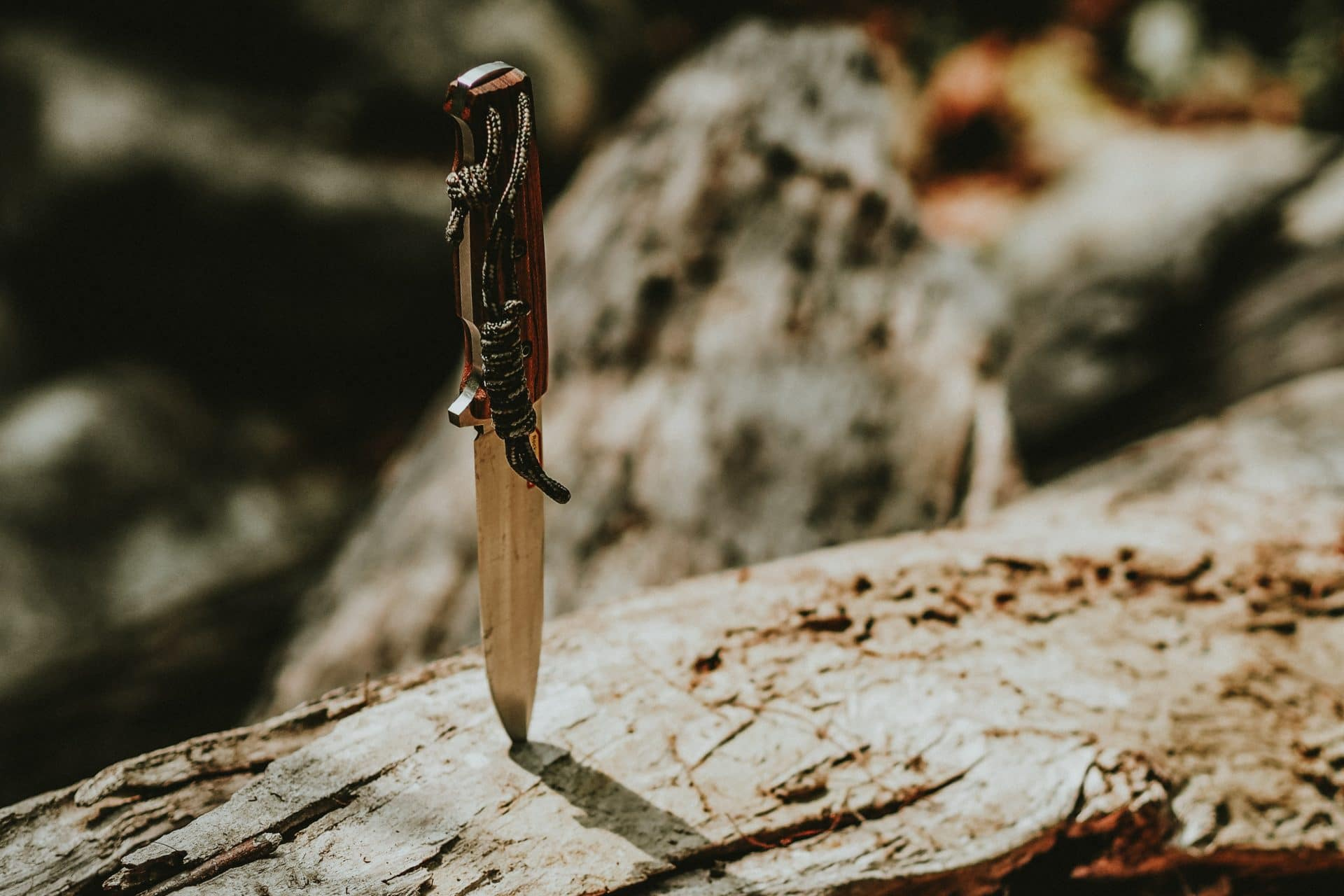 pockeT knife stuck in a wood