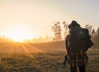 Man wearing a hiking backpack