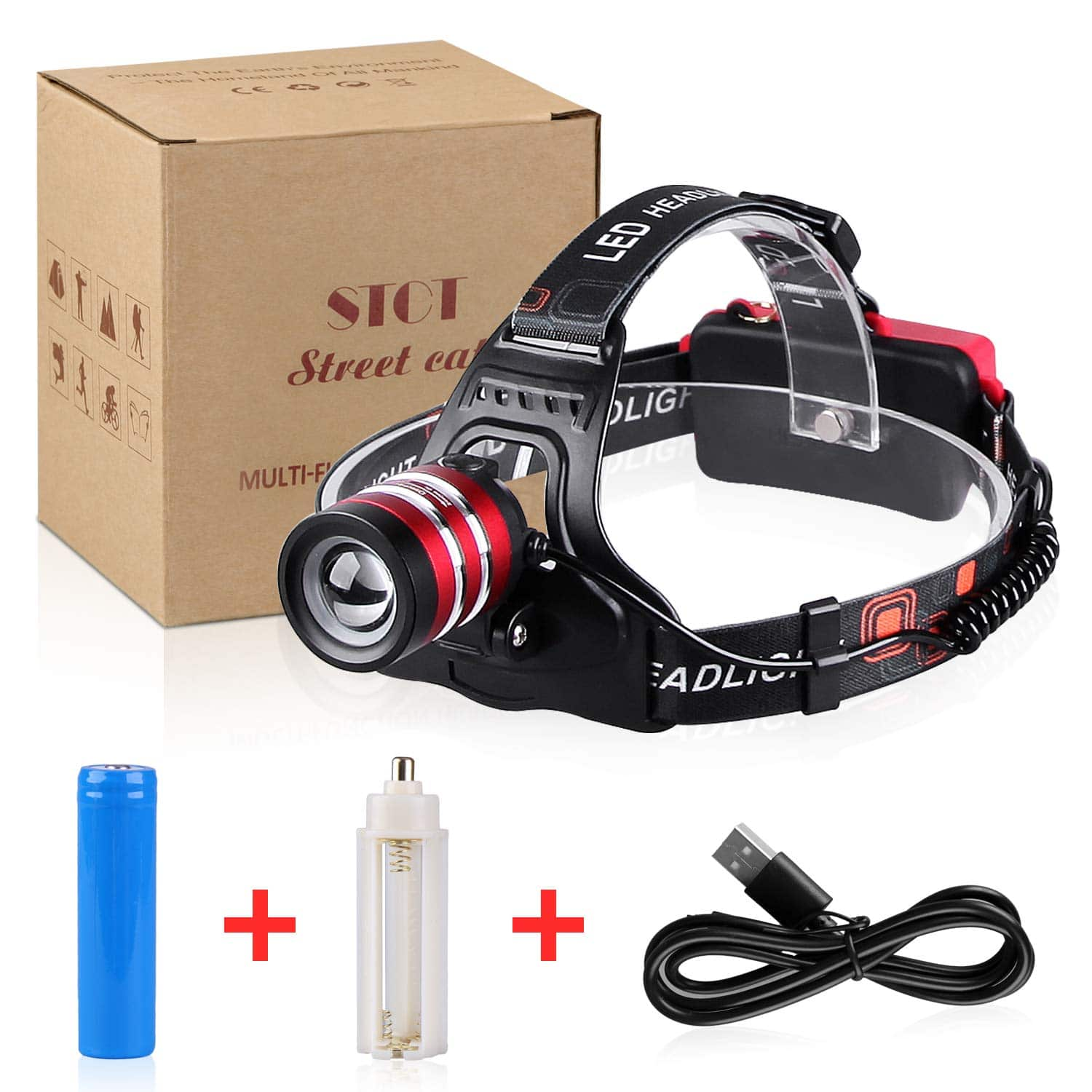 1800LM Rechargeable Headlamp CREE LED, Zoomable Headlamp Flashlight