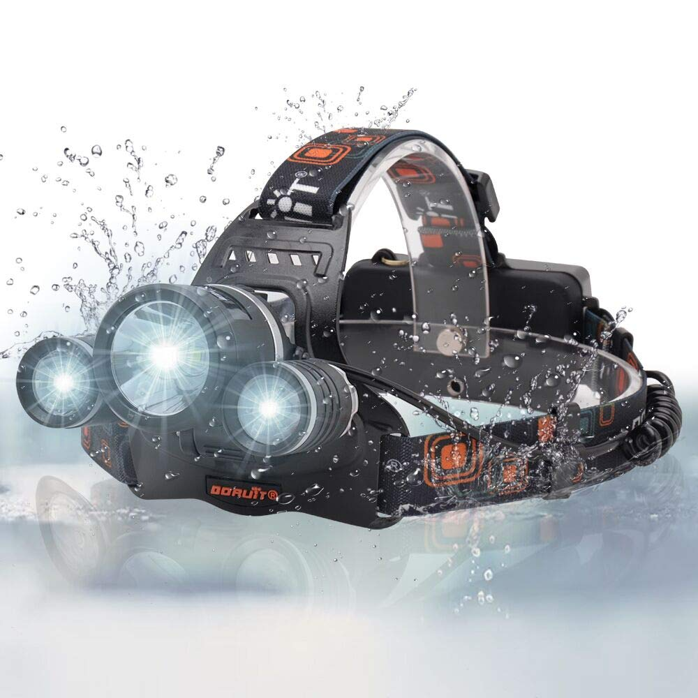 BORUIT 3X XM-L2 T6 LED Beads 5000 Lumens Headlamp