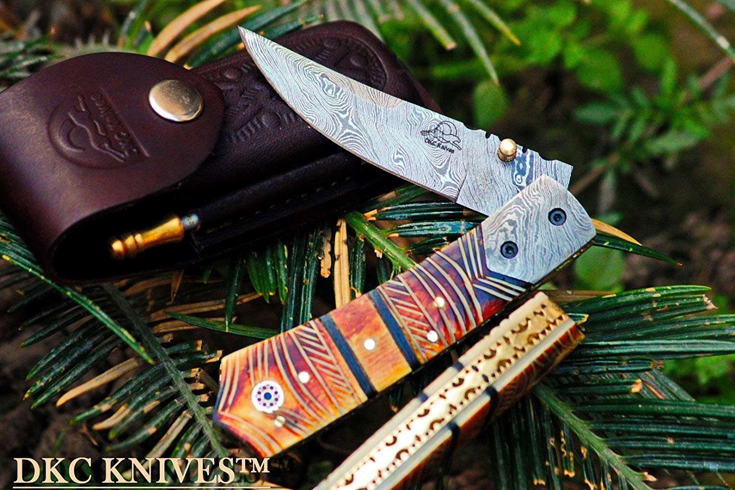DKC-136 Chief Damascus Steel Folding Pocket Knife