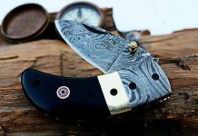 DKC-43 BLACK THUMB Damascus Pocket Knife