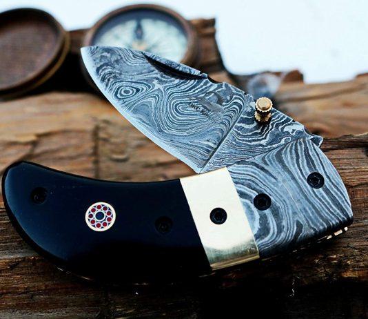 DKC-43 BLACK THUMB Damascus Pocket Knife