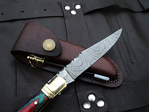 DKC-785 Rainbow Laguiole Damascus Steel Folding Pocket Knife 1