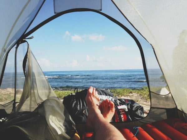 feet on morning camping