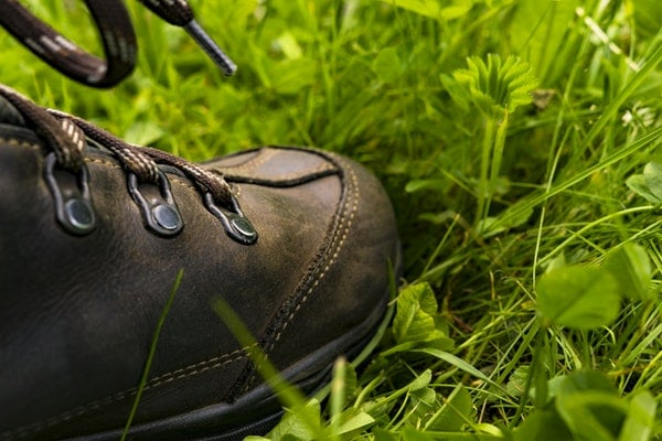 Hiking boots on grass field