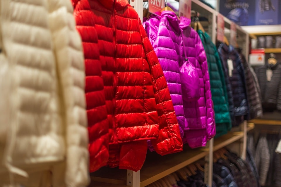 Assorted color of bubble jackets hanged