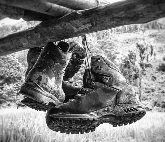 hanging old columbia hiking boots