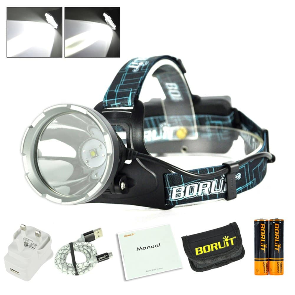 Boruit B10 LED Micro USB Headlamp